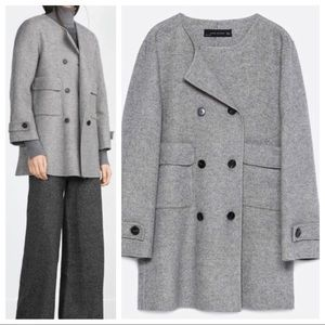 Zara Woman Coat Handmade Wool Blend Button Up Gray